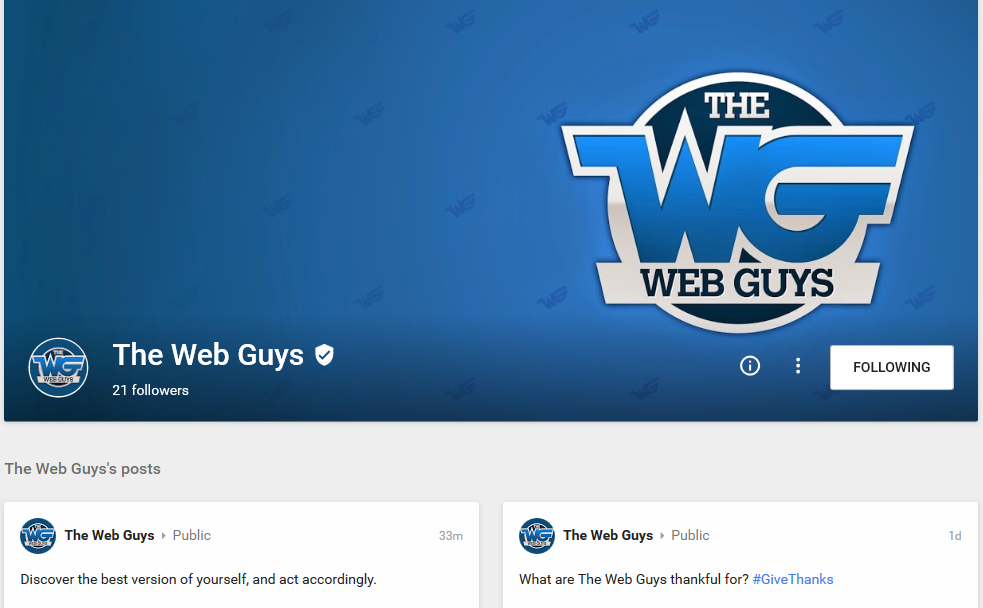 New Google+ Page